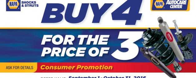 """""""Buy 4 for the price of 3"""" Shocks & Struts NAPA promotion"""
