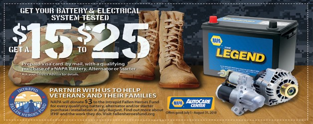 Get $15 – $25 with Qualifying Purchase of a NAPA Battery, Alternator or Starter!